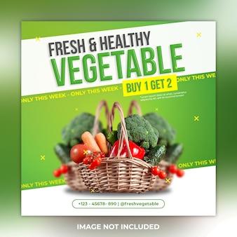 Świeży i zdrowy szablon postu warzywnego