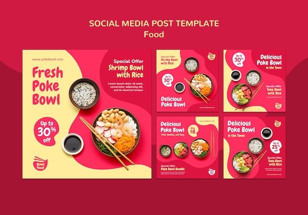 Świeży post w mediach społecznościowych poke bowl