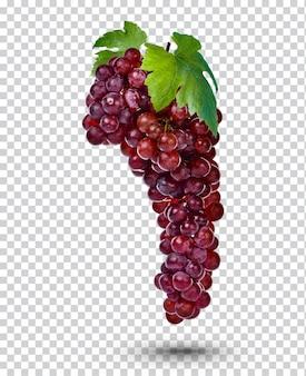Świeży winogrono czerwony na białym tle