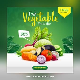 Świeży, zdrowy, warzywny szablon transparentu w mediach społecznościowych i post na instagramie