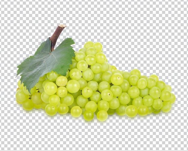 Świeży zielony winogrono na białym tle