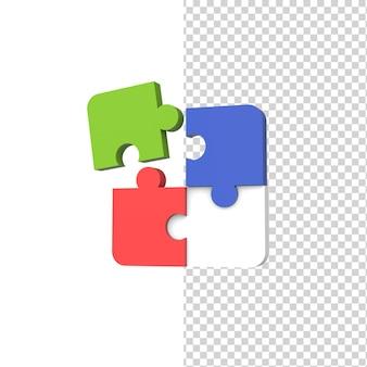 Symbol biznesu łączenie kawałków puzzli 3d ikona modelu renderowania izolowane białe tło