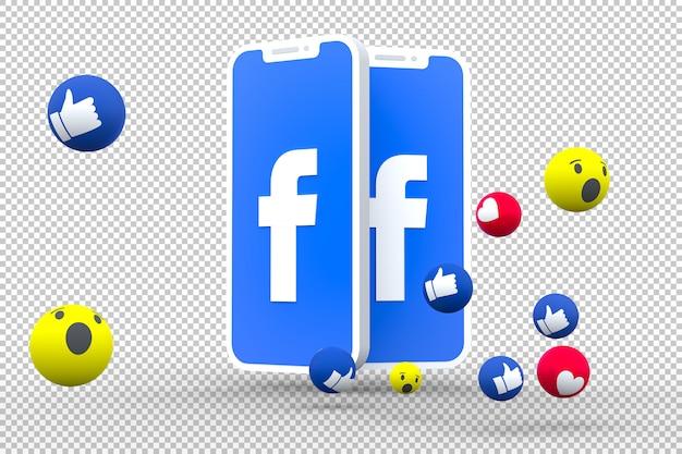 Symbol facebooka na ekranie smartfona lub telefonu komórkowego i facebooka reakcje miłość, wow, jak renderowanie 3d emoji