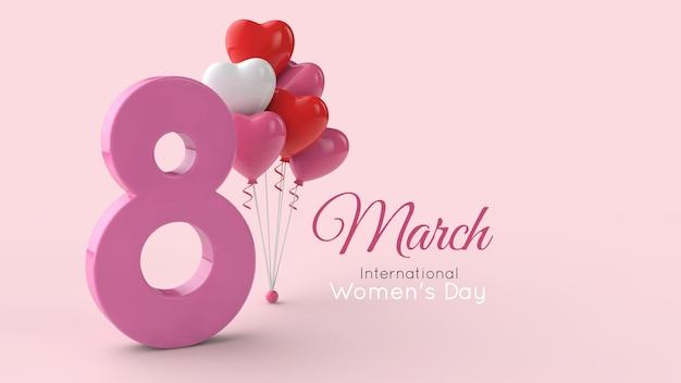 Symbol międzynarodowego dnia kobiet w renderowaniu 3d