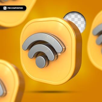 Symbol sieci bezprzewodowej wi-fi w renderowaniu 3d