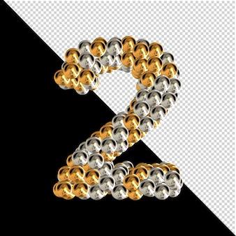 Symbol wykonany ze złotych i srebrnych kul na przezroczystym tle. 3d numer 2