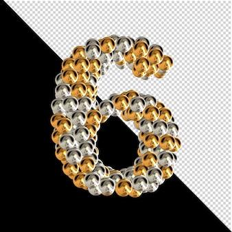 Symbol wykonany ze złotych i srebrnych kul na przezroczystym tle. 3d numer 6