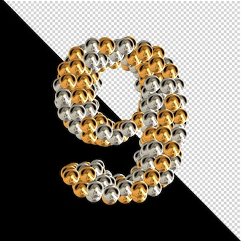 Symbol wykonany ze złotych i srebrnych kul na przezroczystym tle. 3d numer 9