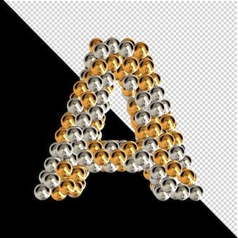 Symbol wykonany ze złotych i srebrnych kul na przezroczystym tle. 3d wielka litera a