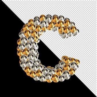 Symbol wykonany ze złotych i srebrnych kul na przezroczystym tle. 3d wielka litera c