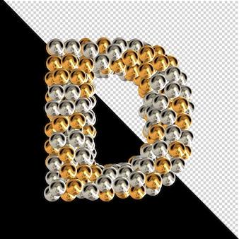 Symbol wykonany ze złotych i srebrnych kul na przezroczystym tle. 3d wielka litera d