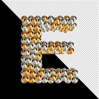Symbol wykonany ze złotych i srebrnych kul na przezroczystym tle. 3d wielka litera e