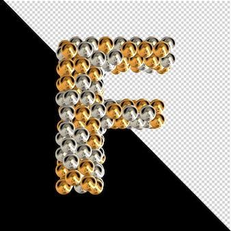 Symbol wykonany ze złotych i srebrnych kul na przezroczystym tle. 3d wielka litera f