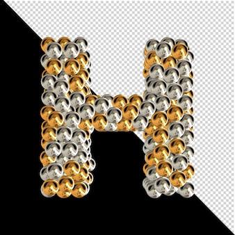 Symbol wykonany ze złotych i srebrnych kul na przezroczystym tle. 3d wielka litera h