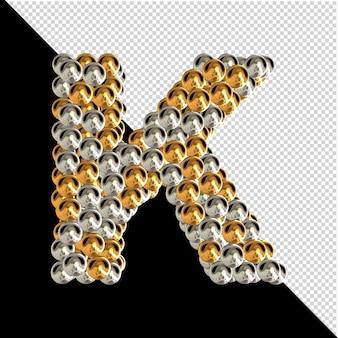Symbol wykonany ze złotych i srebrnych kul na przezroczystym tle. 3d wielka litera k