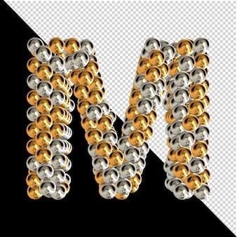 Symbol wykonany ze złotych i srebrnych kul na przezroczystym tle. 3d wielka litera m