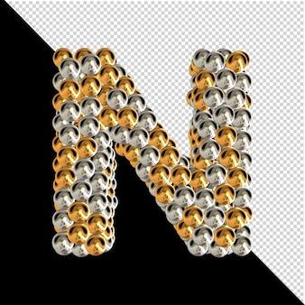 Symbol wykonany ze złotych i srebrnych kul na przezroczystym tle. 3d wielka litera n