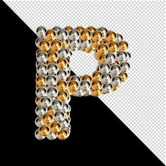 Symbol wykonany ze złotych i srebrnych kul na przezroczystym tle. 3d wielka litera p