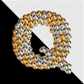Symbol wykonany ze złotych i srebrnych kul na przezroczystym tle. 3d wielka litera q