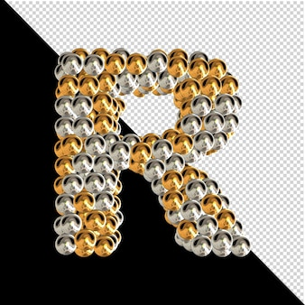 Symbol wykonany ze złotych i srebrnych kul na przezroczystym tle. 3d wielka litera r