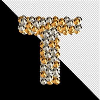 Symbol wykonany ze złotych i srebrnych kul na przezroczystym tle. 3d wielka litera t