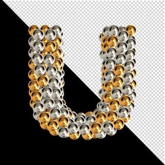 Symbol wykonany ze złotych i srebrnych kul na przezroczystym tle. 3d wielka litera u