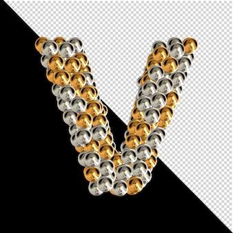 Symbol wykonany ze złotych i srebrnych kul na przezroczystym tle. 3d wielka litera v