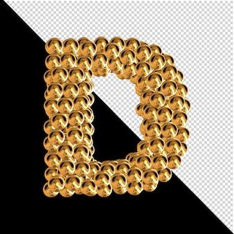 Symbol wykonany ze złotych kul. 3d litera d
