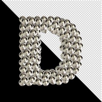 Symbol z kolekcji liter 3d wykonanych ze srebrnych kul na przezroczystym tle. 3d litera d