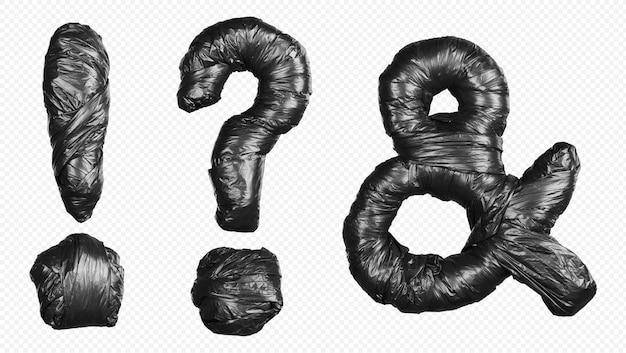 Symbole alfabetu czarny worek na śmieci na białym tle