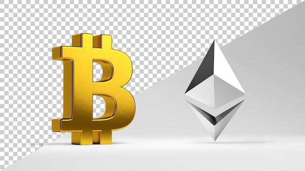 Symbole bitcoin i ethereum na białym tle w renderowaniu 3d