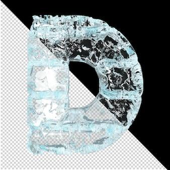 Symbole wykonane z lodu na przezroczystym tle. 3d litera d
