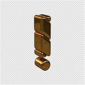 Symbole ze sztabek złota zwrócone w prawo na przezroczystym tle. 3d symbol wykrzyknika
