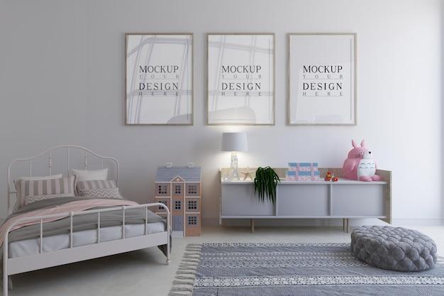 Sypialnia dla dzieci z ramkami plakatowymi projektu makiety