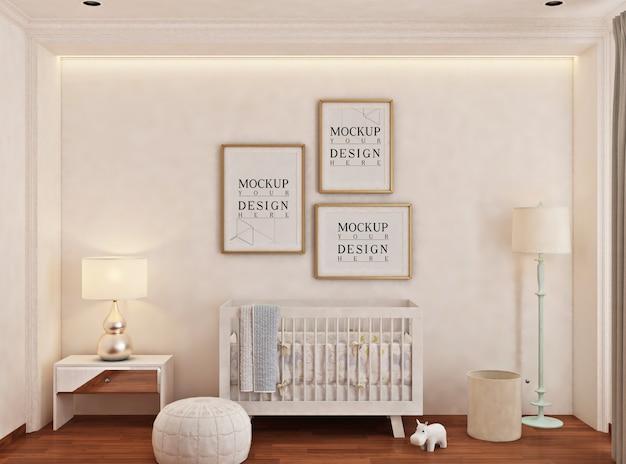 Sypialnia dziecka z ramą plakatową makiety