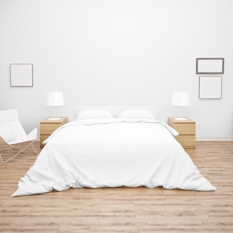Sypialnia lub pokój hotelowy z podwójnym łóżkiem z białym kołdrą lub kołdrą, drewnianymi meblami i parkietem