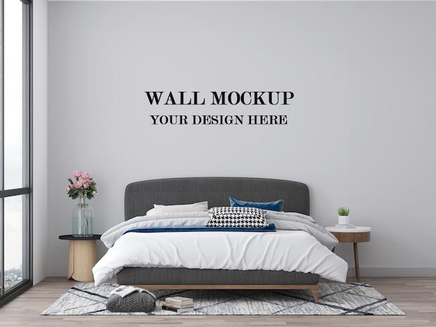 Sypialnia pusta makieta ścienna wizualizacja 3d