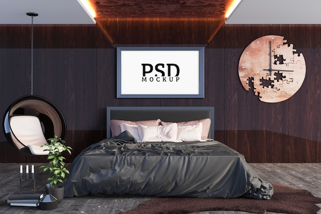 Sypialnia z dużym łóżkiem i ramą do zdjęć