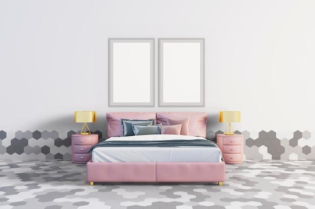 Sypialnia z sześciokątnymi płytkami