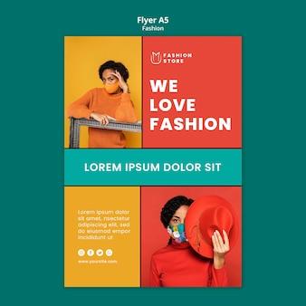 Szablon a5 ulotki trendów mody