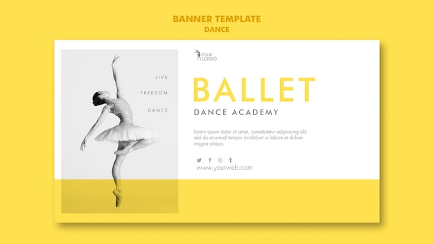 Szablon akademii tańca transparent