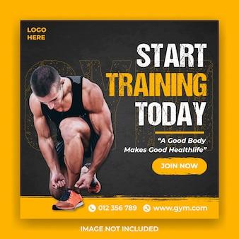 Szablon baner społecznościowy fitness lub siłowni