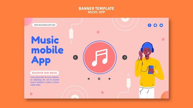 Szablon banera aplikacji mobilnej z muzyką