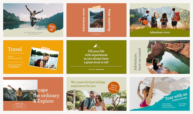 Szablon banera biura podróży psd dołączony zestaw reklam promocyjnych ze zdjęciem