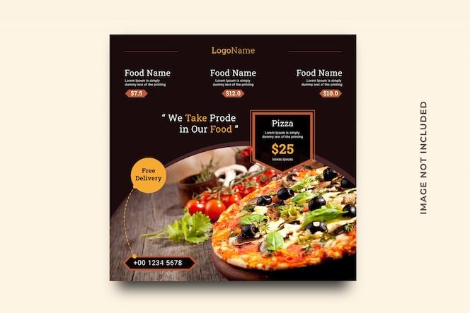 Szablon banera do sprzedaży żywności na post w mediach społecznościowych