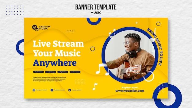 Szablon banera do strumieniowego przesyłania muzyki na żywo