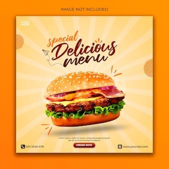 Szablon banera internetowego fast food dla mediów społecznościowych