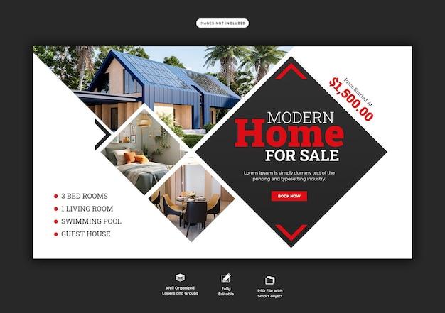 Szablon banera internetowego nieruchomości domu