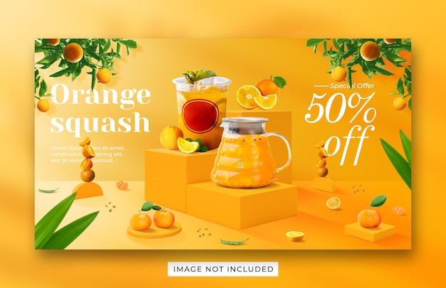 Szablon banera internetowego promocji menu pomarańczowy napój squash
