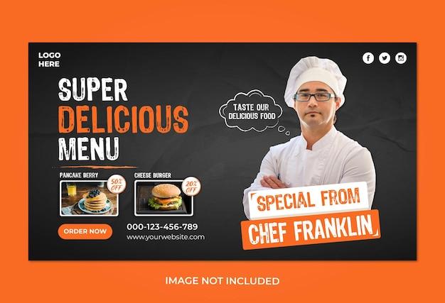 Szablon banera internetowego z menu żywności i restauracji